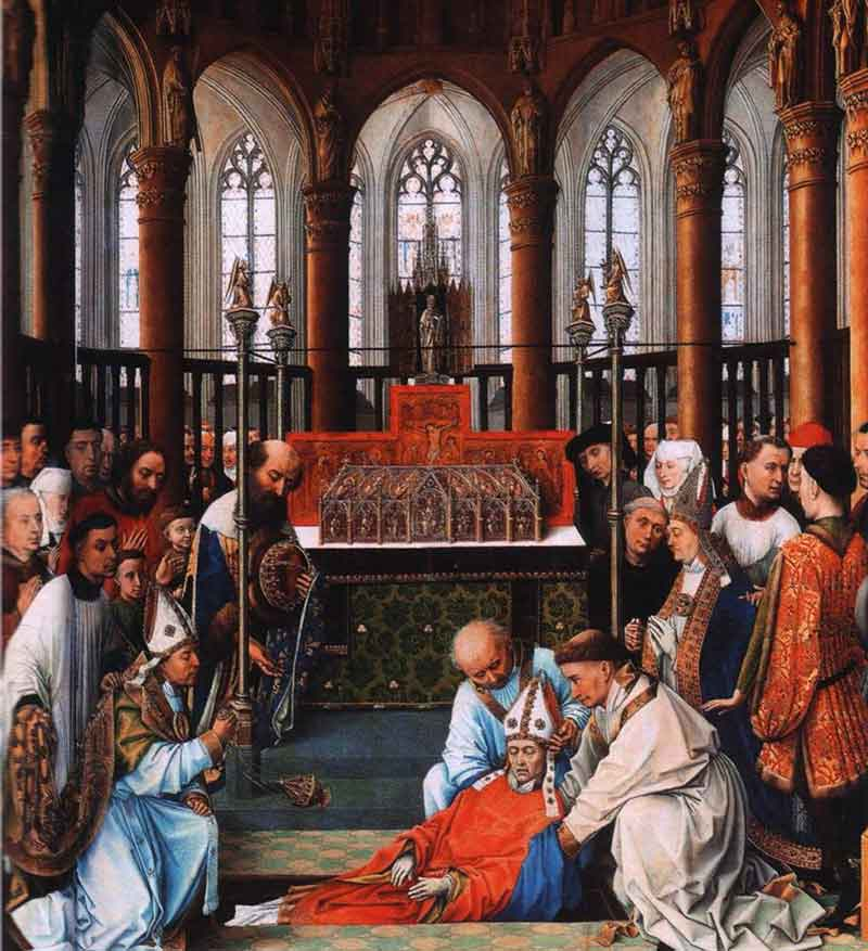 The exhumation of Saint Hubert in the church of Saint Peter at Liège, by Rogier van der Weyden, ca. 1437.